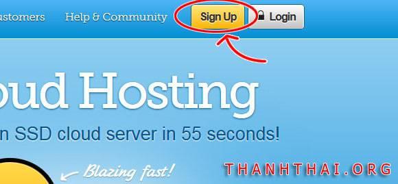 Click Signup để bắt đầu đăng ký tài khoản