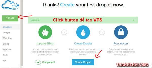 Bấm Create Droplet hoặc Create để bắt đầu tạo một VPS hosting mới.