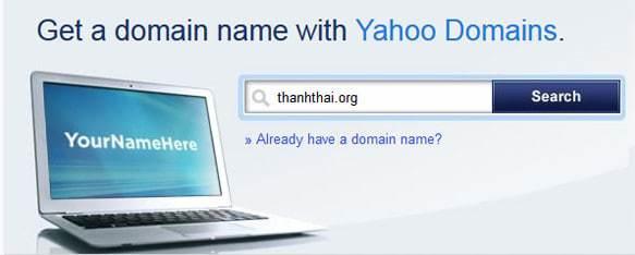 Đăng ký tên miền tại Domain Yahoo