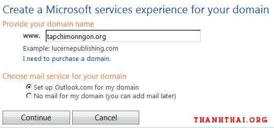 Nhập tên miền mà bạn muốn đăng ký email