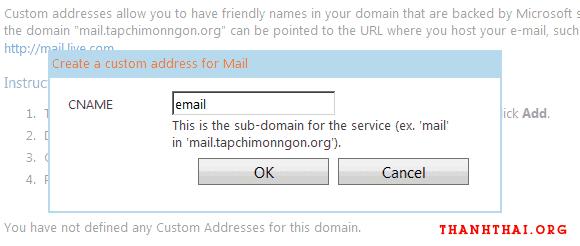 Nhập tên subdomain để sử dụng cho dịch vụ email