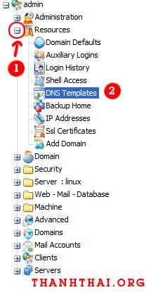 Cấu hình DNS template cho kloxo