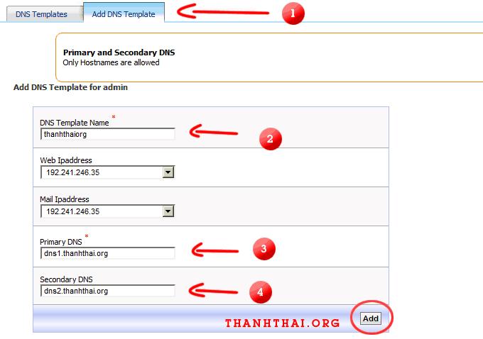 Nhật thông tin cho DNS template