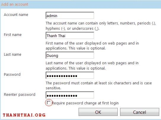 Điền các thông tin cần thiết để tạo tài khoản email mới