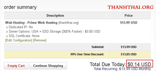 Chỉ với 0.14$ cho share hosting ổ cứng SSD