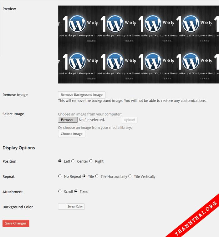 Tùy chỉnh hình nền cho website wordpress