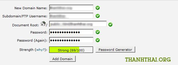 Chức năng addon domains