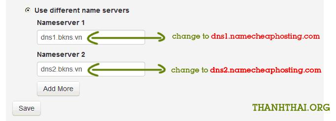 Thay đổi DNS trung gian sang DNS của namecheaphosting