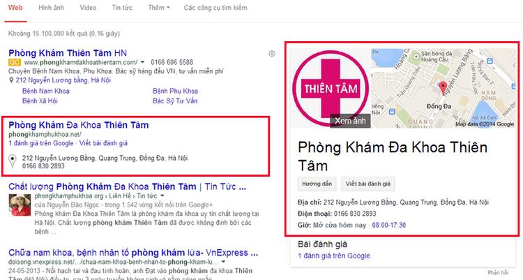 Kết quả hiển thị khác biệt trên google địa điểm