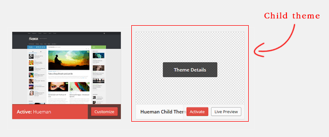 Active child theme wordpress