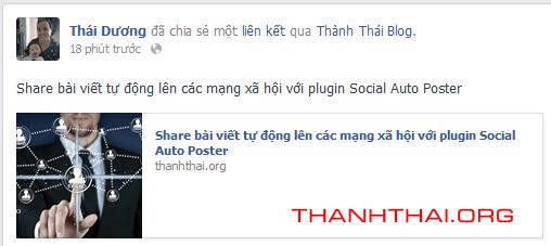Bài viết được share tự động lên facebook