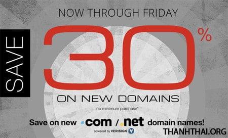 Tên miền .com . net giảm giá 30%
