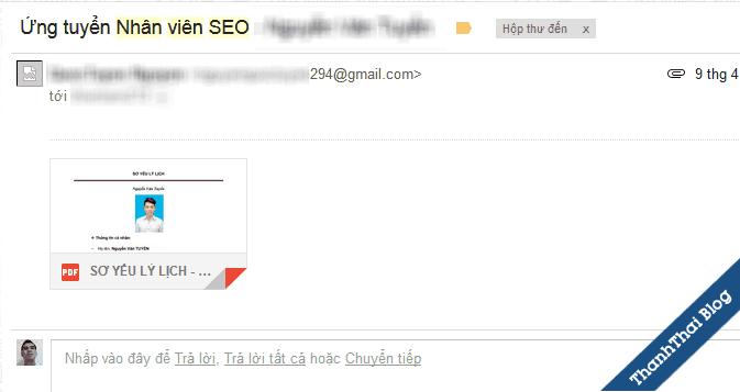 Email chỉ có đính kèm là điều sai ở các ứng viên