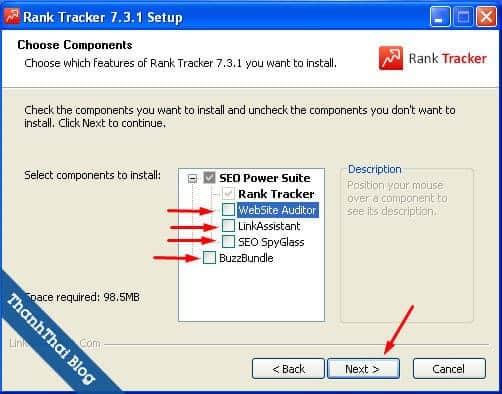 Tick để bỏ chọn những phần mềm khác