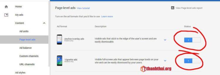 Cài page-level-ads cho website của bạn