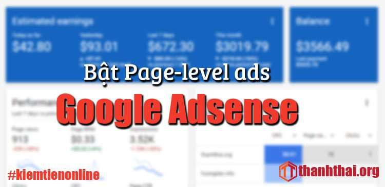Bật Page-level-ads cho Google Adsense