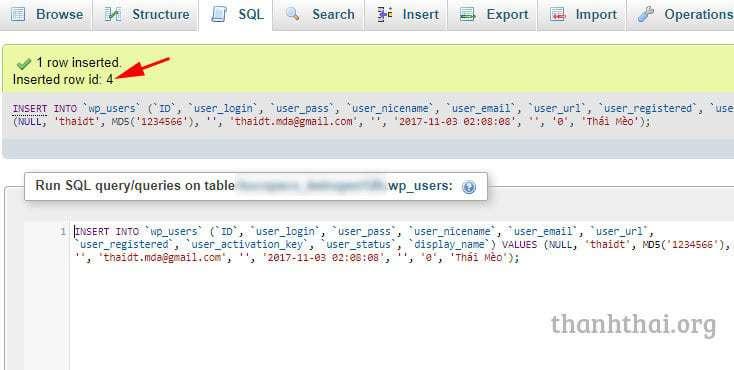 Thêm tài khoản quản trị wordpress qua database