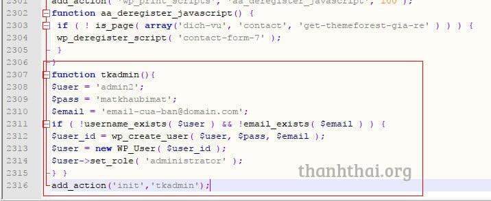 Thêm tài khoản admin wp bằng code php