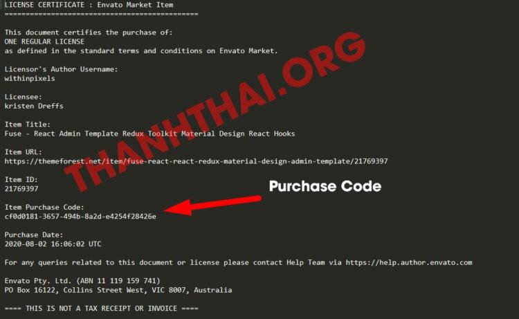 File license txt của Dịch vụ mua theme từ Themeforest giá rẻ