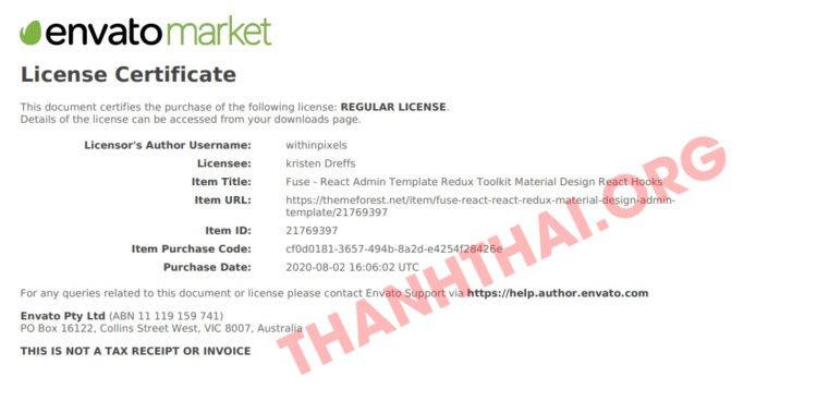 License pdf từ dịch vụ mua themeforest giá rẻ