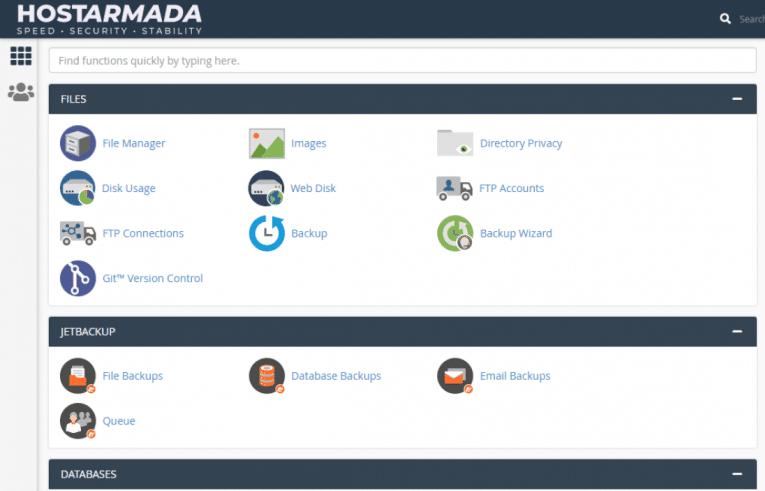HostArmada sử dụng trình quản lý Cpanel